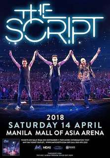 THE SCRIPT VIP EXP (1) Seat A5 FRONT ROW