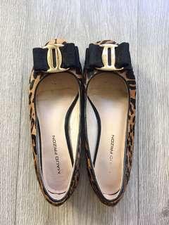 Maud frizon genuine mohair leather leopard print ballet flats size 36