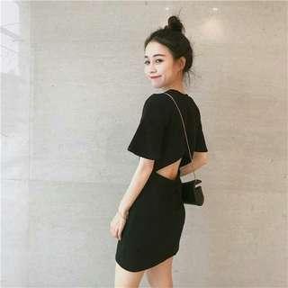 EL0420腰部鏤空韓版打底連身裙