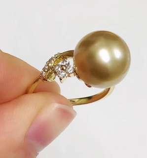 簡單款 南洋金珠鑽石戒指 襯衫襯裙都好靚