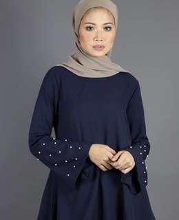 BN Dark Blue High Collar Beads Blouse