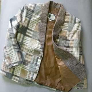 🚚 復古格子拼布西裝外套