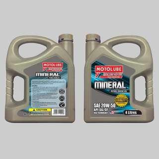 MOTOLUBE Engine Oil  Fully Synthetic SAE 5W-30 API SN  Price :98 Semi Synthetic SAE 10W-40 API SN Price :78 Mineral SAE 20W-50 API SG/CF Price :48