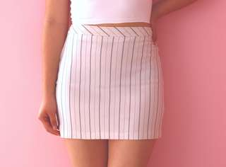 White Lined Mini-Skirt