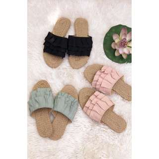 Flats abaca slippers ruffles design Summer Collection Item code: c3004