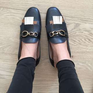 Tod's real leather navy blue tassel shoes slippers mules summer gold chain 36 half 3.5 uk