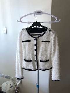 White faux fur blazer