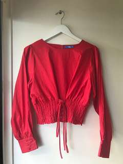 Long sleeve ruche tie blouse