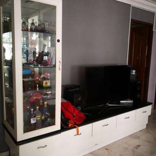Used TV console with display shelf - Customised