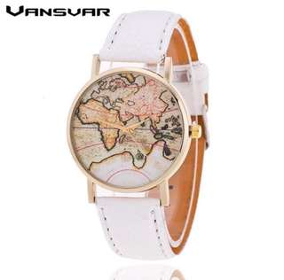 Fashion World Map watch for women casual Leather Strap