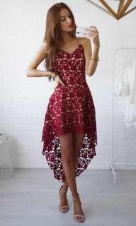 crotchet red mermaid dress