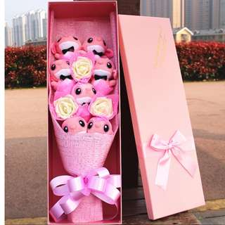 7 Pink Stitches Bouquet + 3 White Color  Soap Roses + 1 Gift Box