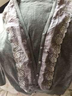 🚚 灰色蕾絲罩衫7分袖