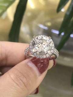18K白金鑽石戒指 5卡
