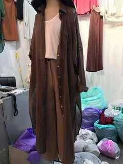 棉麻外罩衫/長版外罩