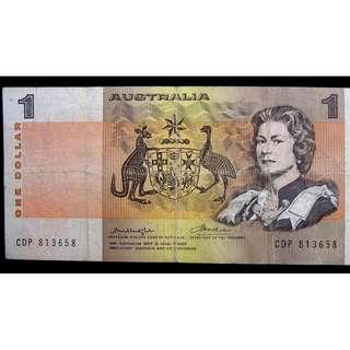 1972年澳洲儲備銀行(Australia)英女皇伊莉莎伯二世像土著繪畫壹圓(Dollar))鈔票