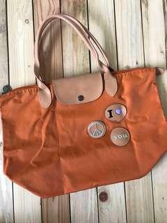 Longchamp Le Pliage short handle with patch
