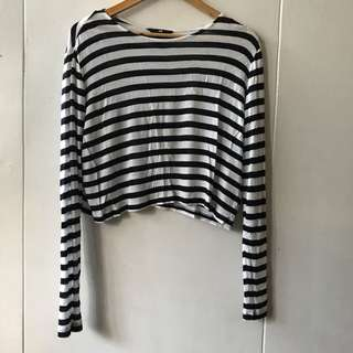 H&M Black and White Stripes Longsleeves Crop Top