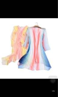 🚚 正韓制pink lady100%蠶丝彩虹防曬超薄中长外套