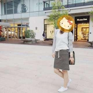 🚚 《出清》PAZZO黑白條紋 內刷毛 抽繩鬆緊款短裙