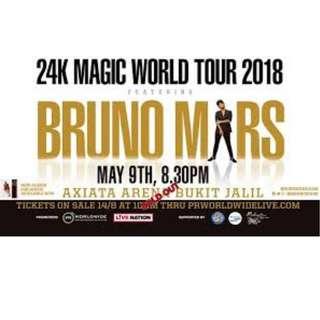 Bruno Mars  x 2 CAT 1 BLOCK 118 AA seat 9th May 2018 Kuala Lumpur 2000 RM Each