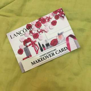Lancome complimentary makeover card