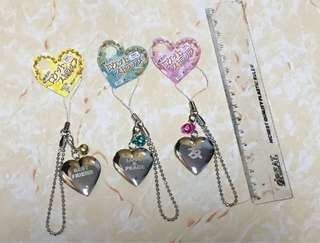 韓國 心心 吊飾 掛飾 3隻色  可打開(如圖)