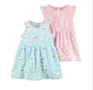 BN Carters Baby Girl Pastel Pink Polka/Unicorn 2 Piece Dress Set 18mths & 24mths avail! With diaper cover!