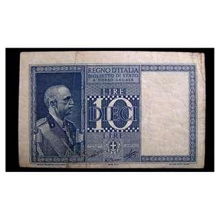 1939年意大利王國(Kingdom of Italy)意皇埃曼奴爾三世像及意大利女神10里拉銀票(二戰時期)