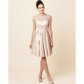 REVIEW AUDRINA BLUSH CHAMPAGNE SATIN PLEATED VINTAGE STYLE COCKTAIL DRESS *NEW* 10