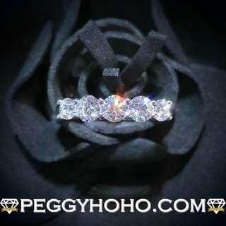 【Peggyhoho】全新18K白金1卡5份超閃真鑽石戒指|經典系列|HK13.5號