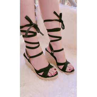 Wedge sandals, Abaca Sandals, Wrap around lace up, Made to order,  Item code: c4026