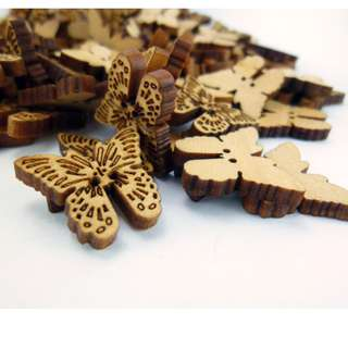 WB11044 - 20 x 15mm Buterfly crafted wood buttons, wooden buttons (10 pieces)  #craft