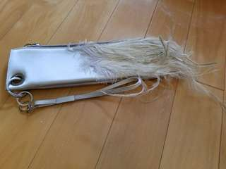 (Italy brand) silver feather clutch