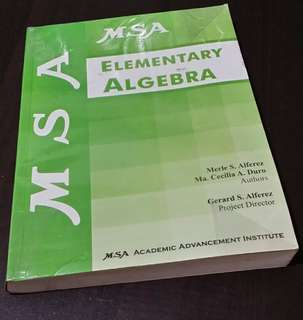 MSA Elementary Algebra guide & exercise book