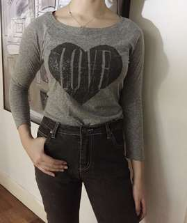 American Eagle 'Love' Grey Fitted Long Sleeve