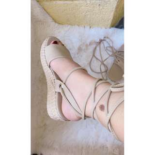 Wedge sandals, Abaca sandals, wrap around lace up, Gladiator, Made to order, Item code: c4026