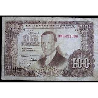1953年西班牙銀行(Bank of Spain)名畫家托雷斯像及其作品La Fuensanta 100彼索塔(Pesetas)銀票
