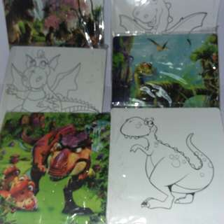 2 in 1 puzzles n Dinosaurs Colouring board