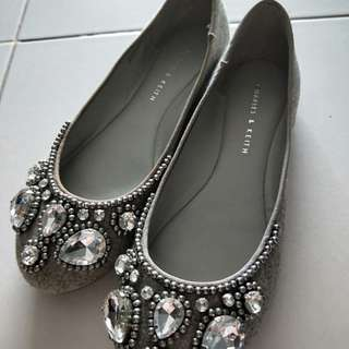 BN Charles and Keith grey flats with crystal embellishment