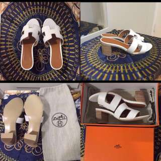😆FREE SHIPPING* under 500g😆Brand New Hermes White High-heels come with dust bag and box