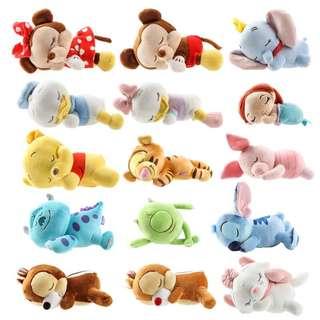 迪士尼 唐老鴨黛絲花栗鼠小飛象瑪麗貓睡眠公仔 趴姿玩偶毛絨娃娃