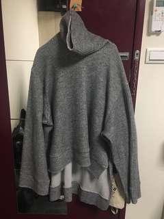 韓國灰色前短後長高領毛衣