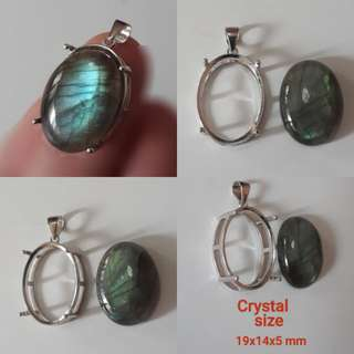 🐉Very nice Labradorite cabocheon/pendant. With ready casing in 925 silver plated white gold.
