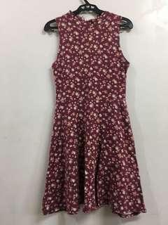 Forever 21 Maroon Flowery halter dress