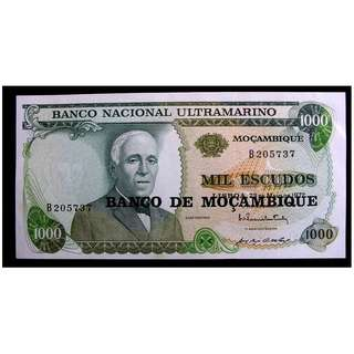 1975年莫桑比克銀行(Bank of Mozambique)偉大飛行員告丁諾肖像1000厄士姑度(Escudos))鈔票