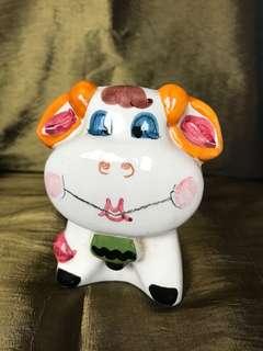 Ceramic cow coin money bank