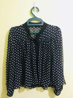 Black and white sheer polka dot top