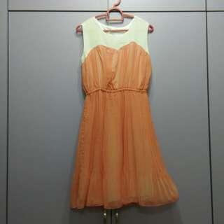 Peach chiffon dress