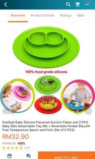 Silicone suction baby plate + 1 free bib